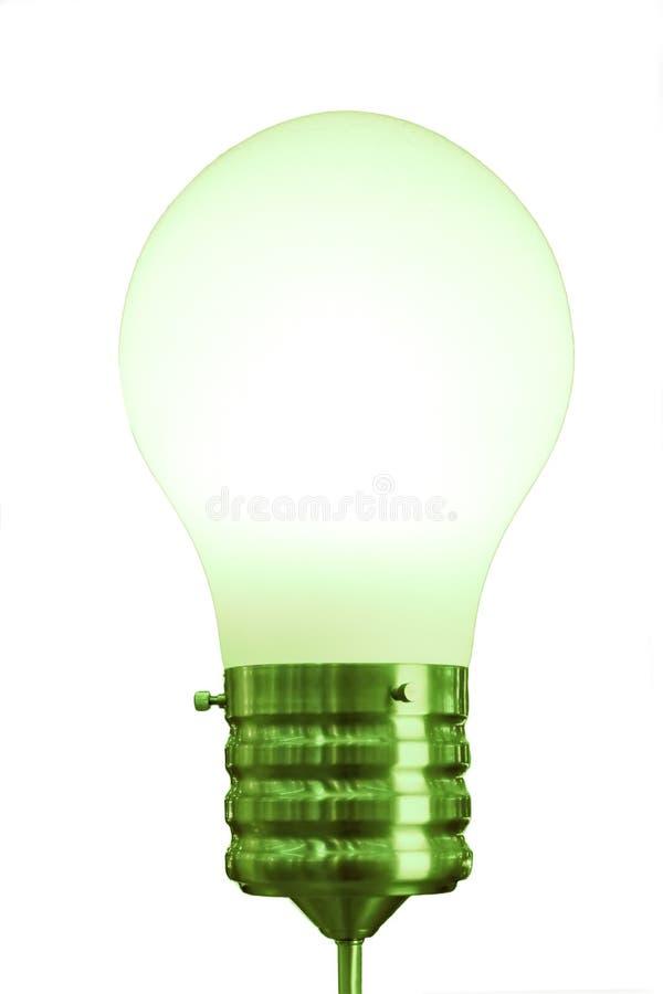 Duża zielona żarówka odizolowywająca na bielu obrazy royalty free