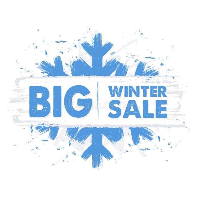 Duża zimy sprzedaż w błękitnym rysującym sztandarze z płatkiem śniegu zdjęcie stock