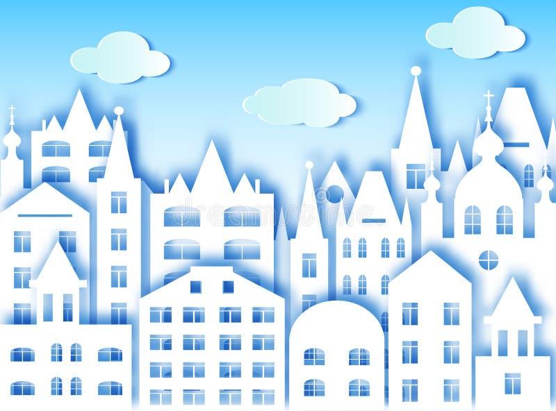Duże chmury i miasto ilustracji