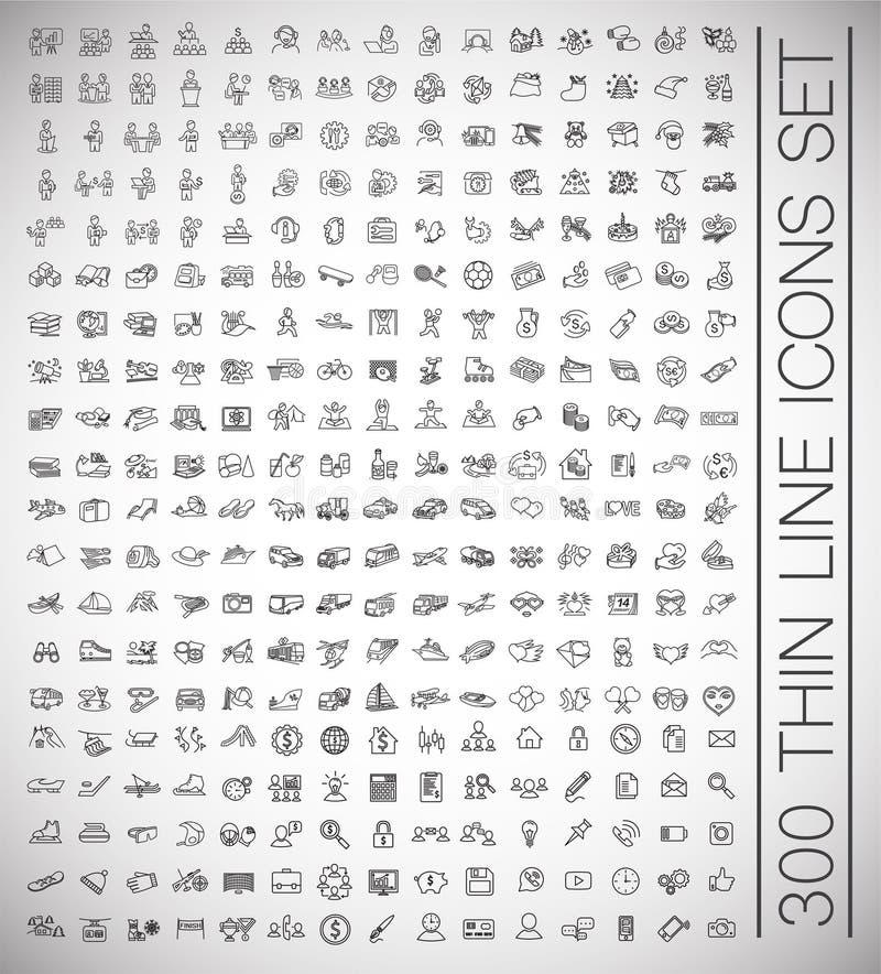 Duże 300 cienkich kreskowych ikon ustawiających na białym tle dla grafiki i sieci projekta, Nowożytny prosty wektoru znak kolor t ilustracji