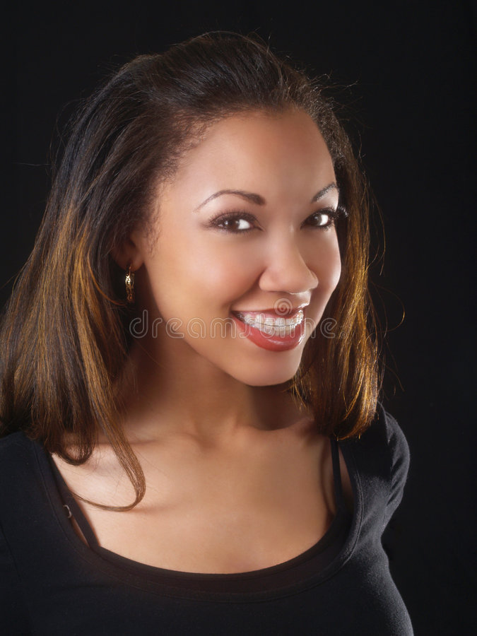 duże czarne brasu kobiety young uśmiechu zdjęcie stock
