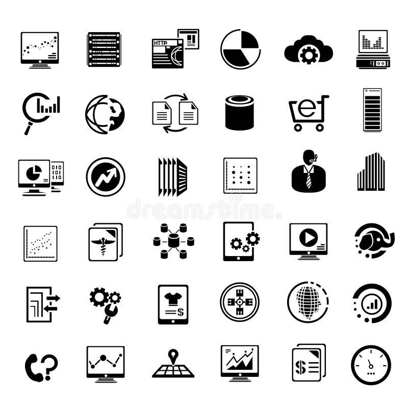 Duże dane i dane analityka ikony ilustracji