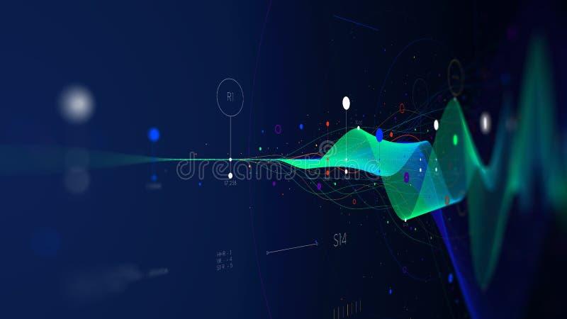 Duże dane strumienia futurystyczne infographic biznesowe analityka prezentacje, monitoru ekran w perspektywie ilustracji