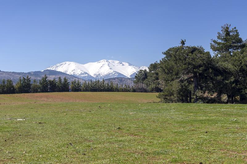duże krajobrazowe halne góry Halna łąka i góry na wiosna dnia Helmos górach, Grecja, Peloponnese zdjęcie royalty free