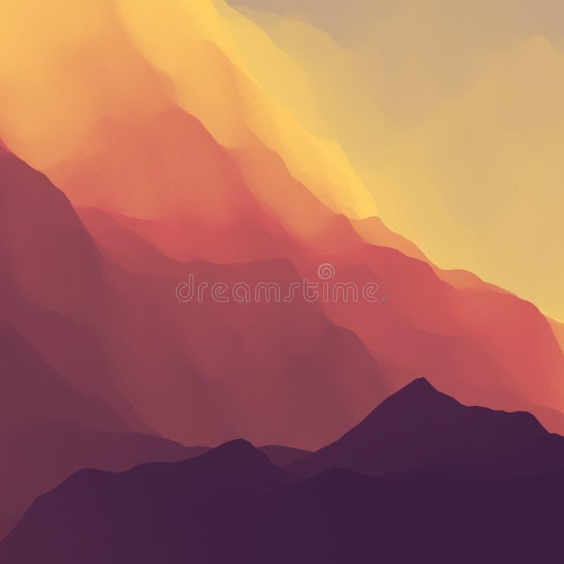 duże krajobrazowe halne góry Teren górzysty Halny projekt Wektorowe sylwetki gór tła Zmierzch ilustracja wektor