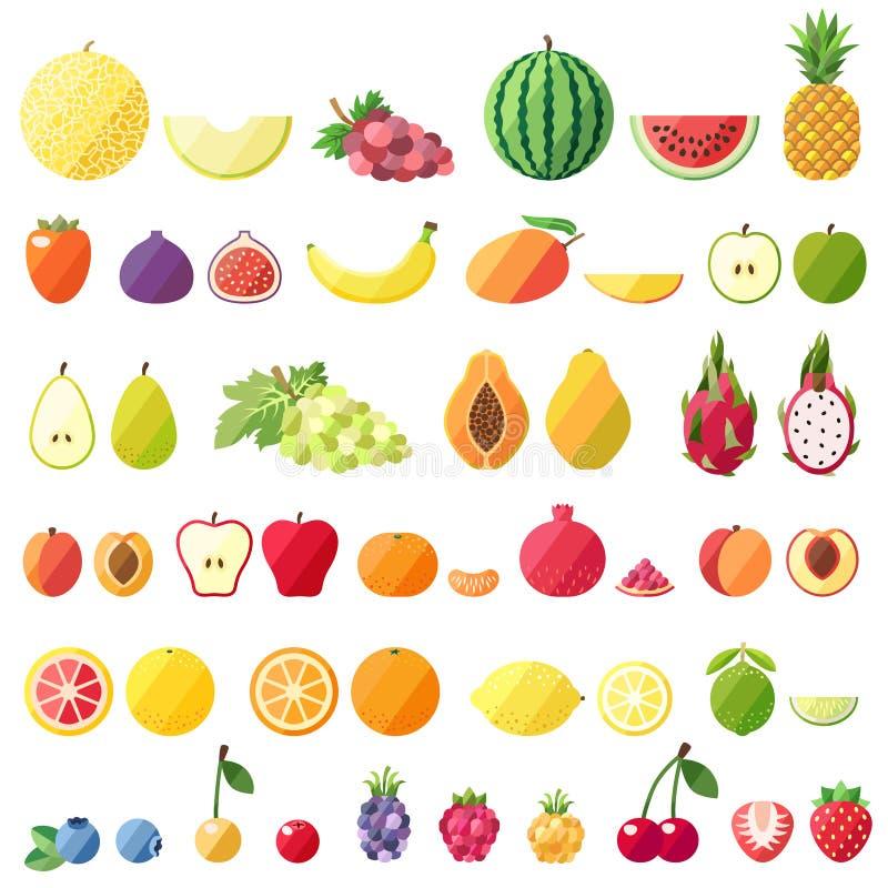 Duże owocowe wektorowe ikony ustawiać Nowożytny płaski projekt Odosobneni przedmioty zdjęcie stock