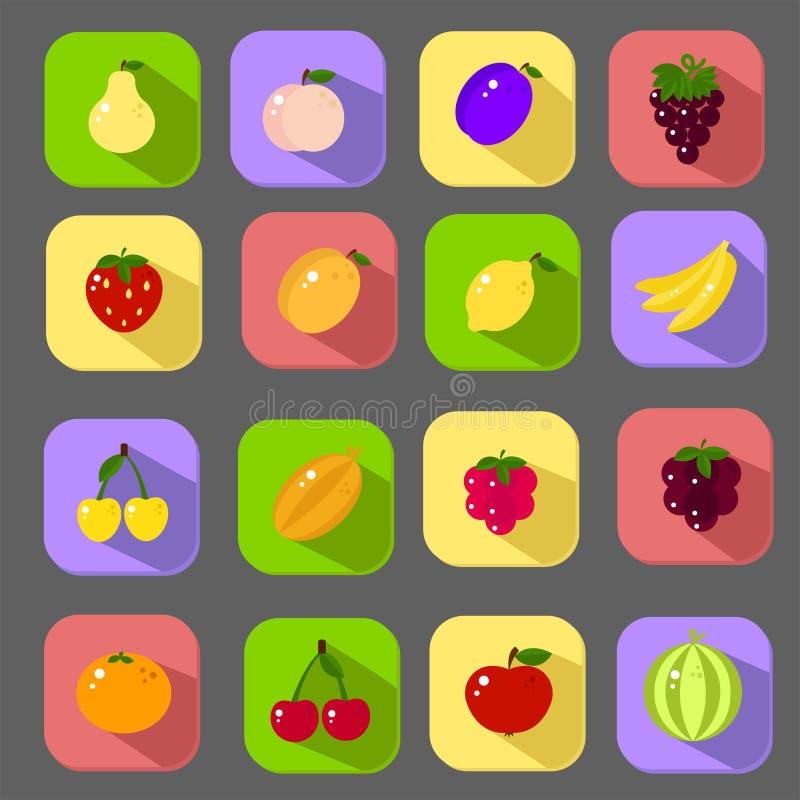 Duże płaskie ikony ustawiać z differents owoc ilustracja wektor
