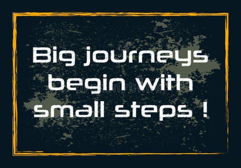 Duże podróże zaczynają z małej krok motywacji Inspiracyjnej wyceny Wektorowym pozytywnym pojęciem ilustracja wektor