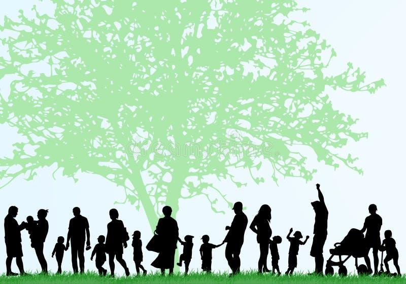 Duże rodzinne sylwetki ilustracja wektor