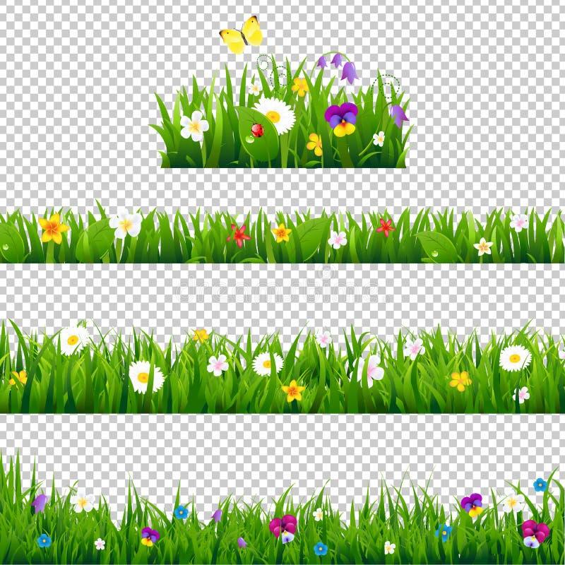 Duże setów kwiatów granicy ilustracji