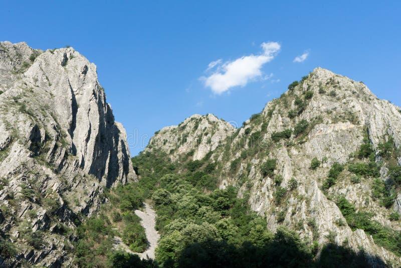 Duże skały w dolinie Słoneczny dzień z zielonymi drzewami w falezie Góry w Krajowym Naturalnym parku Matka jar w Macedonia obrazy stock