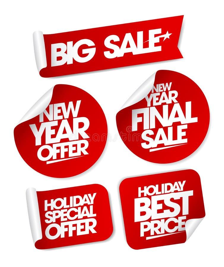 Duże sprzedaż nowego roku oferty ustawiają majcherów ilustracja wektor
