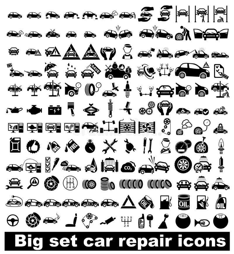 Duże ustalone samochód naprawy ikony ilustracji