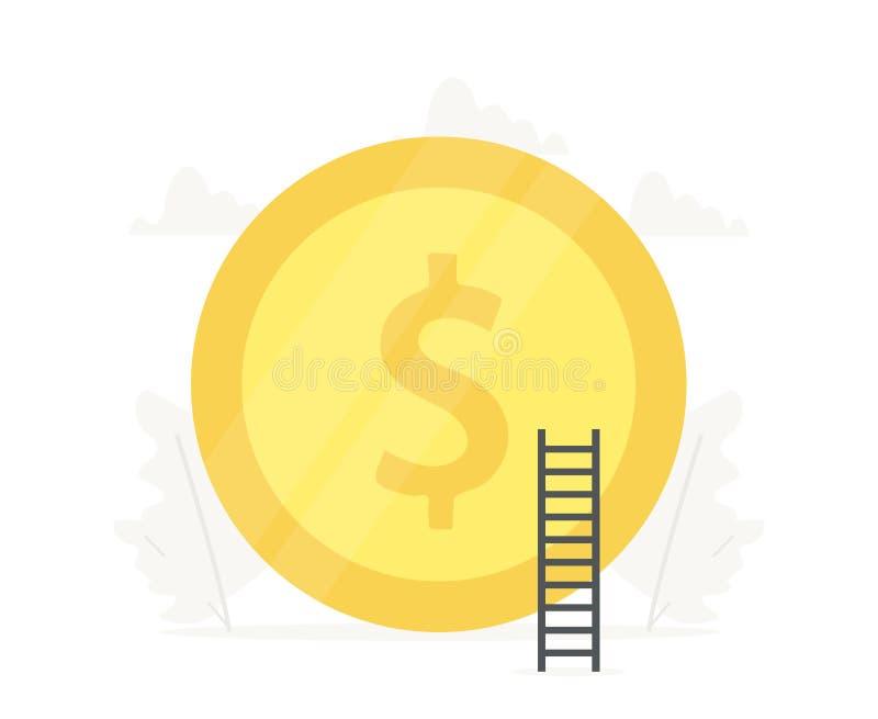 Duże złocistej monety biznesowe prezentacje na białym tle Inwestycja, ratuje pieniądze ilustrację royalty ilustracja