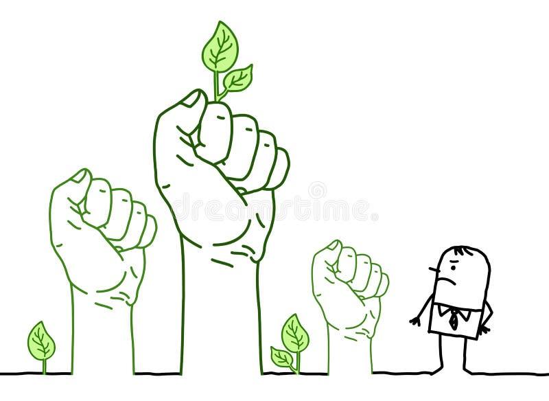 Duże Zielone ręki z postać z kreskówki - protest ilustracja wektor
