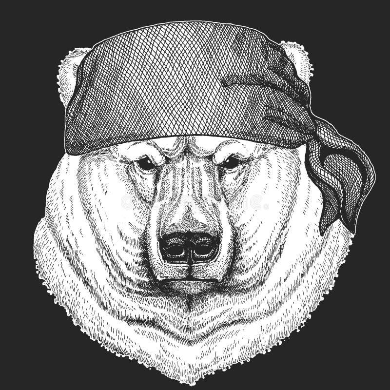 Dużego białego niedźwiedzia polarnego Chłodno pirat, żeglarz, seawolf, żeglarz, rowerzysty zwierzę dla tatuażu, koszulka, emblema royalty ilustracja