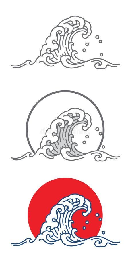 Dużego falowego oceanu wektorowa ikona w Japonia sztuki stylu ilustracji