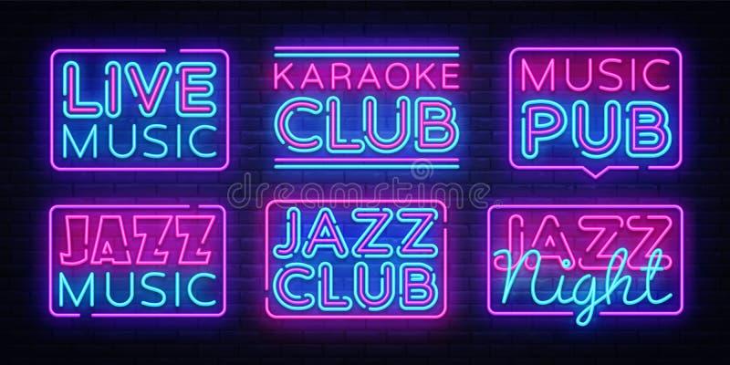 Dużego inkasowego muzyka na żywo neonowi znaki wektorowi Jazzowej muzyki projekta szablonu neonowy znak, lekki sztandar, neonowy  ilustracji