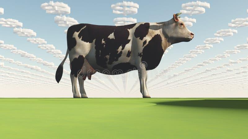 Dużego Interesu GMO krowa ilustracji
