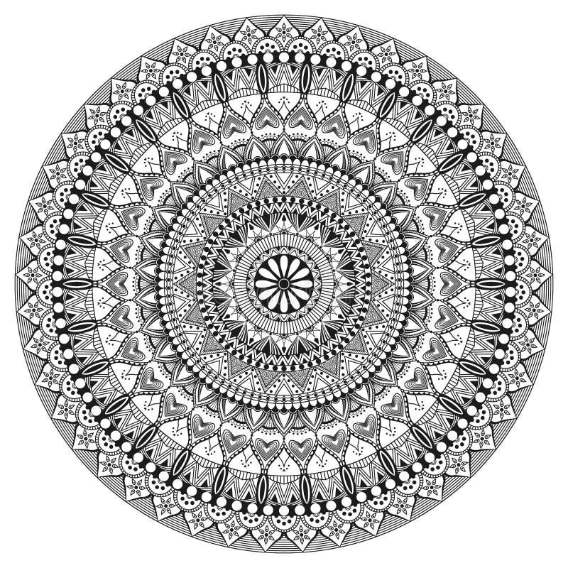 Dużego kwiatu czarny i biały mandala ilustracja wektor