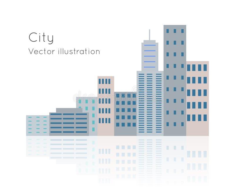 Dużego miasta Wektorowa ilustracja na Białym tle ilustracja wektor