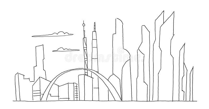 Dużego miasto drapacza chmur przyszłościowy nakreślenie Ręka rysująca wektoru zapasu kreskowa ilustracja Budynek architektury kra ilustracji