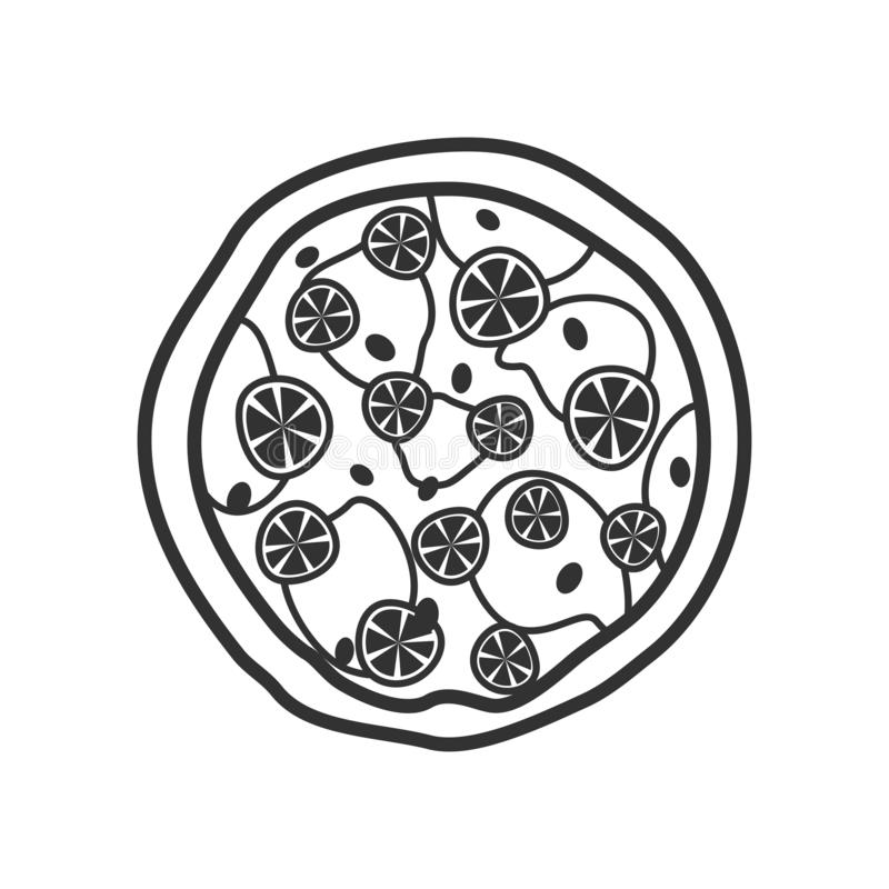 Dużego pizza konturu Płaska ikona na bielu royalty ilustracja