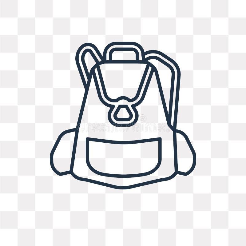 Dużego plecaka wektorowa ikona odizolowywająca na przejrzystym tle, Lin royalty ilustracja