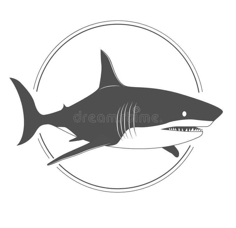 Dużego rekinu czarny i biały sylwetka ja ilustracji