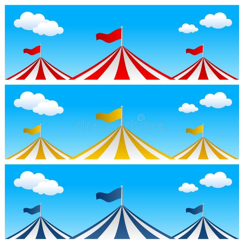 Dużego wierzchołka Cyrkowego namiotu sztandary