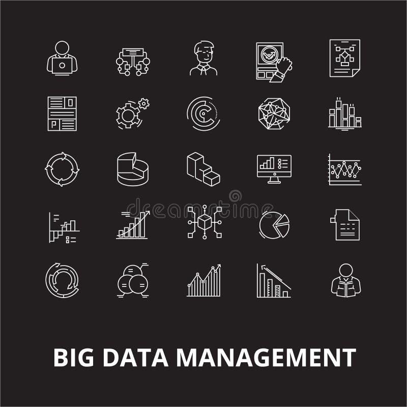 Dużego zarządzania danymi ikon editable kreskowy wektorowy ustawiający na czarnym tle Dużego zarządzania danymi konturu białe ilu ilustracji