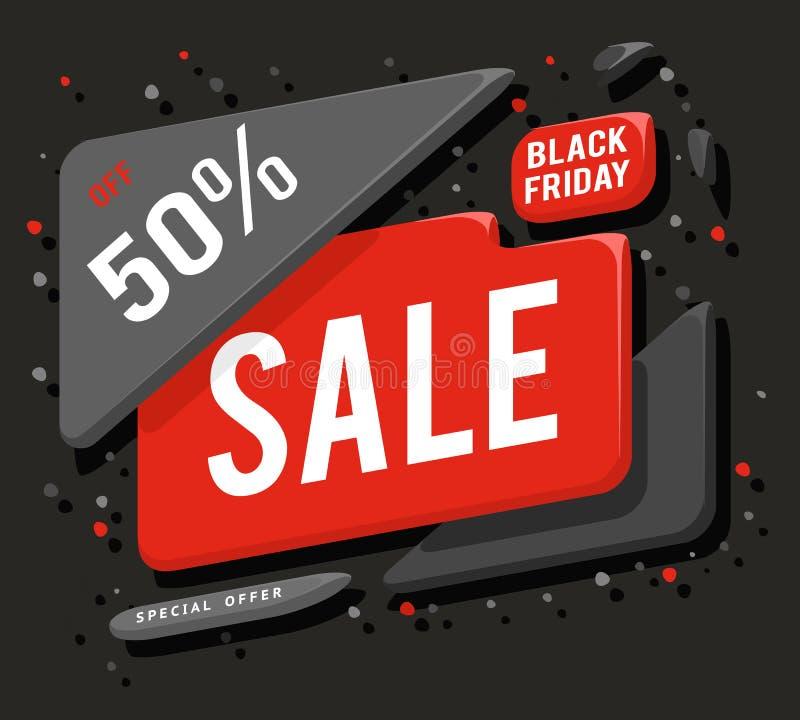 Dużej czarnej Piątek sprzedaży sztandaru układu specjalnej oferty pojęcia majcheru wektoru reklamowa ilustracja royalty ilustracja