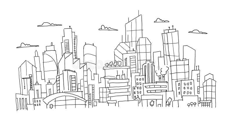 Dużej miasto panoramy przyszłościowy nakreślenie Ręka rysująca wektoru zapasu kreskowa ilustracja Budynek architektury krajobraz royalty ilustracja