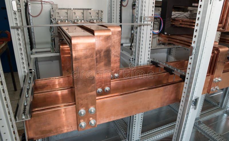 Dużej Mocy elektryczna deska z miedzianymi barami zdjęcie royalty free