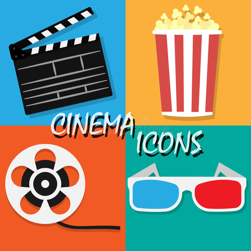 Dużej otwartej clapper deski filmu rolki ikony Kinowy set Filmu i filmu elementy w płaskim projekcie Kino i filmu czasu płaskie i ilustracja wektor