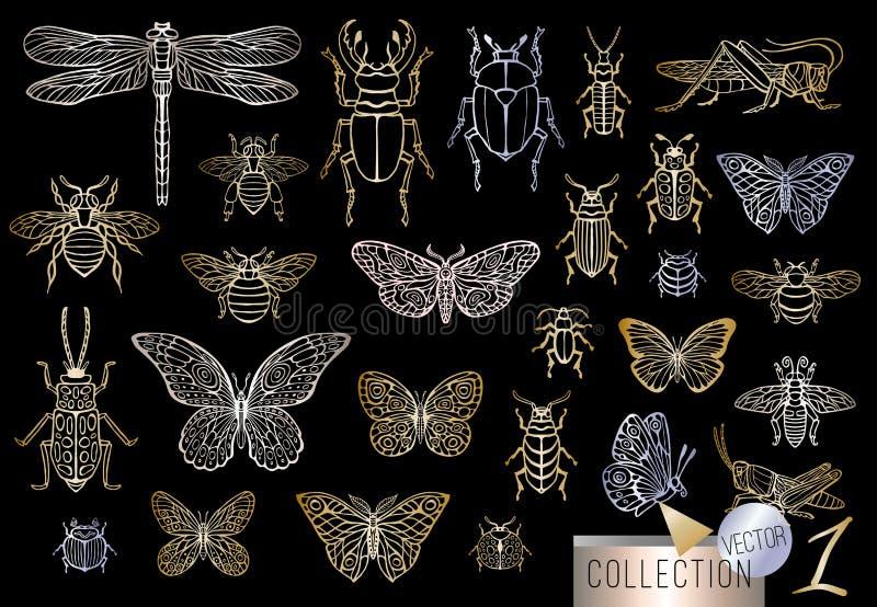 Dużej ręki linii rysujący złoty set insekt pluskwy, ścigi, miodowe pszczoły, motyl, ćma, bumblebee, osa, dragonfly, pasikonik ilustracji