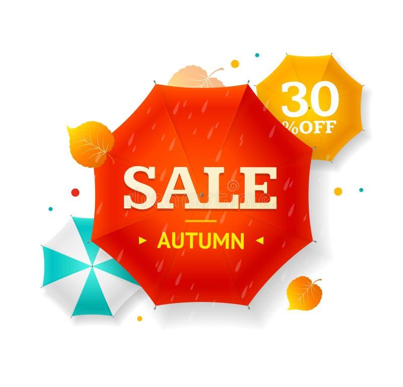 Dużej sprzedaży jesieni Parasolowa etykietka wektor royalty ilustracja