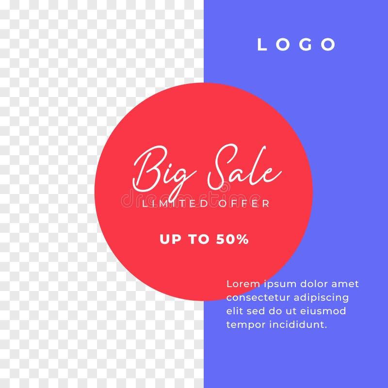 Dużej sprzedaży prości wielocelowi ogólnospołeczni środki wysyłają tło szablon minimalny dyskontowy promocja kwadrata sieci sztan ilustracji