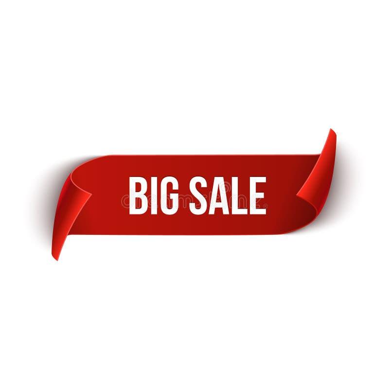 Dużej sprzedaży projekta wektorowy tasiemkowy szablon Sztandar sprzedaży etykietka Targowa specjalnej oferty rabata etykietka ilustracja wektor