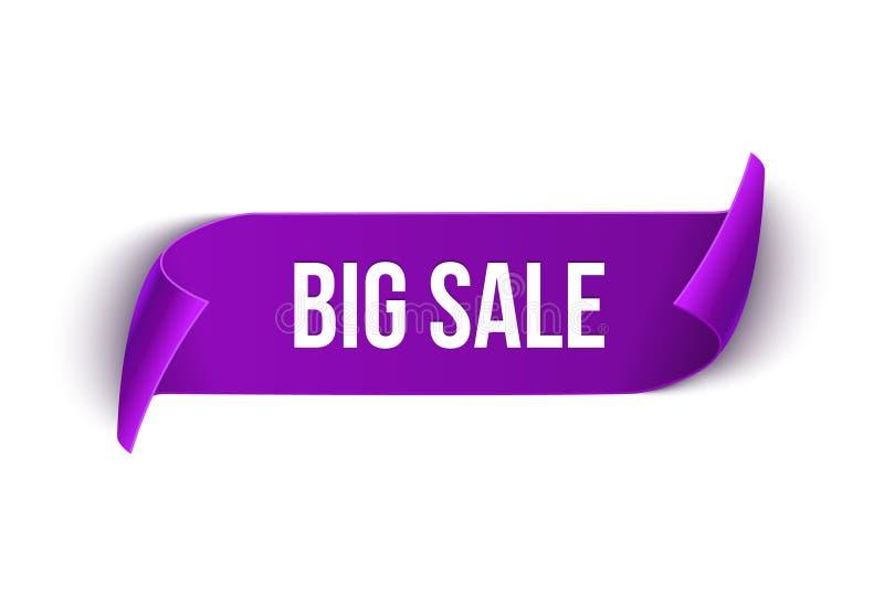 Dużej sprzedaży projekta wektorowy tasiemkowy szablon Sztandar sprzedaży etykietka Targowa specjalnej oferty rabata etykietka royalty ilustracja