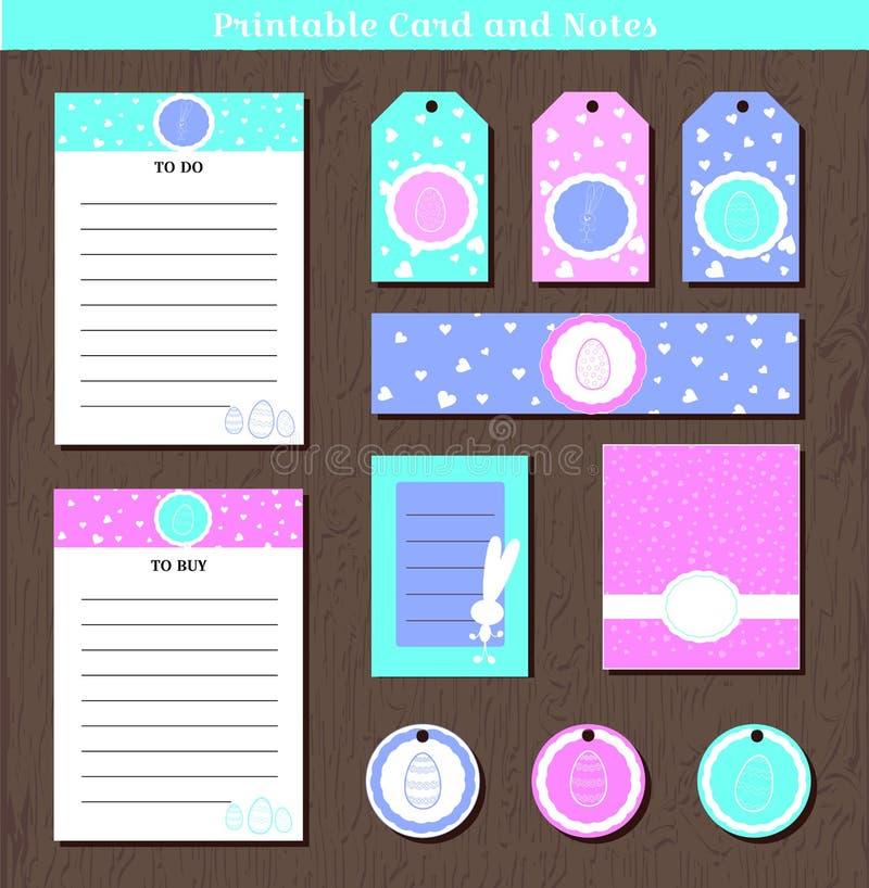 Dużej wielkanocy ustalone printable karty, notatki z i Wektorowa ilustracja dla wielkanocy przyjęcia cięcia i druku powitania ilustracji