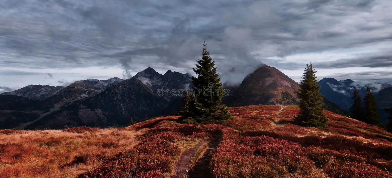 Dużej wysokości góry sceniczny krajobraz z wycieczkować ścieżkę zdjęcie royalty free