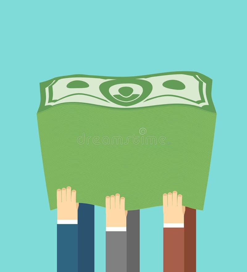 dużo pieniędzy Sterta dolary Firma zyski Ręka ilustracji