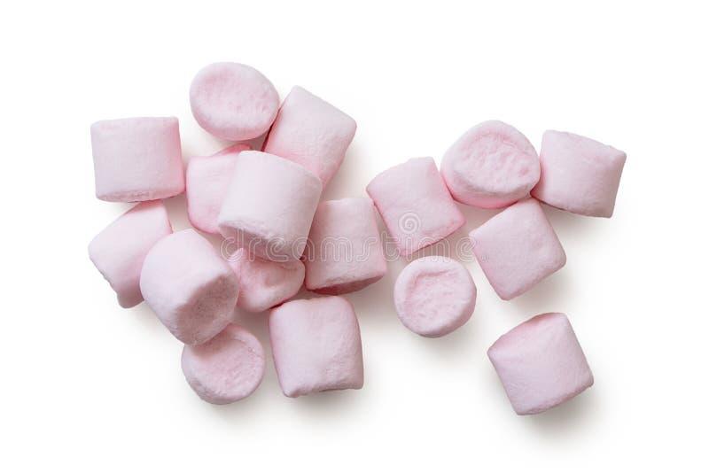 Dużo różowią minych marshmallows odizolowywających na bielu z góry zdjęcia stock