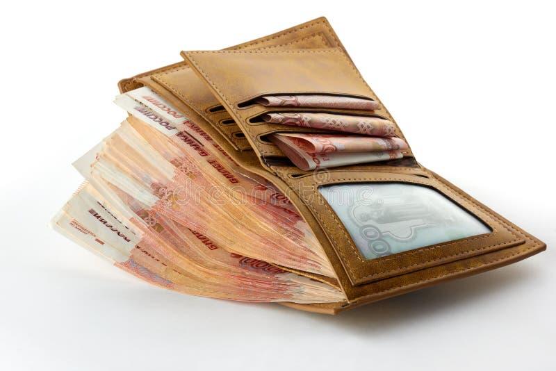 Dużo rosyjscy pieniędzy ruble w portflu obrazy royalty free