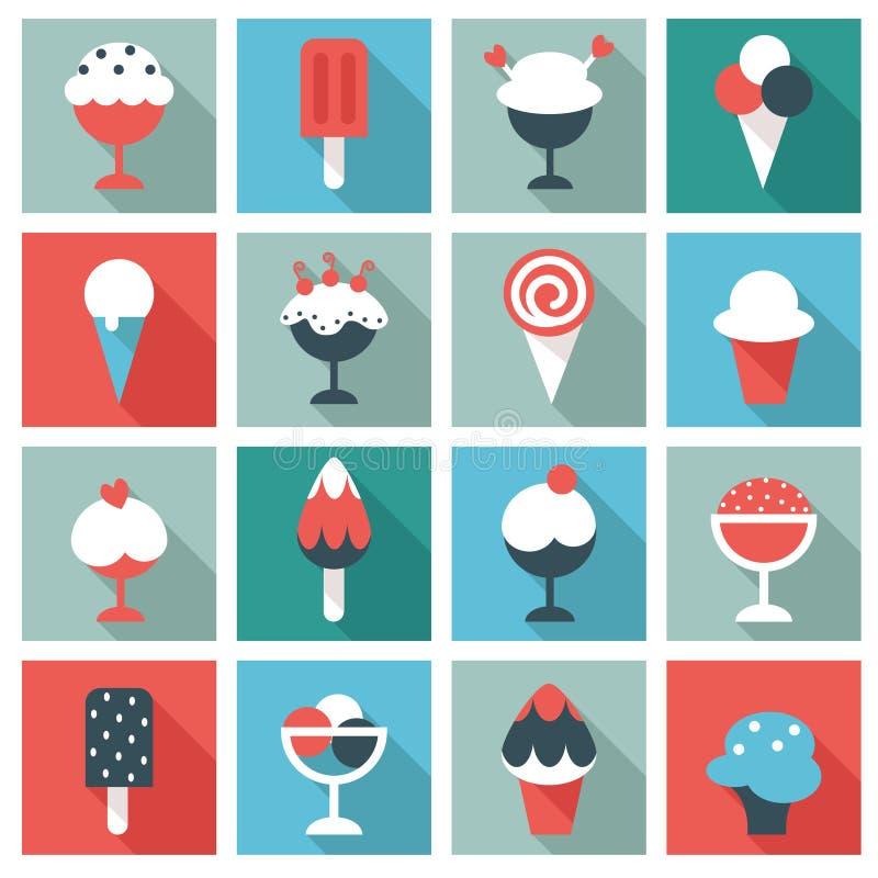 duży śmietanki lodu ikony ustawiają wektor dwanaście royalty ilustracja