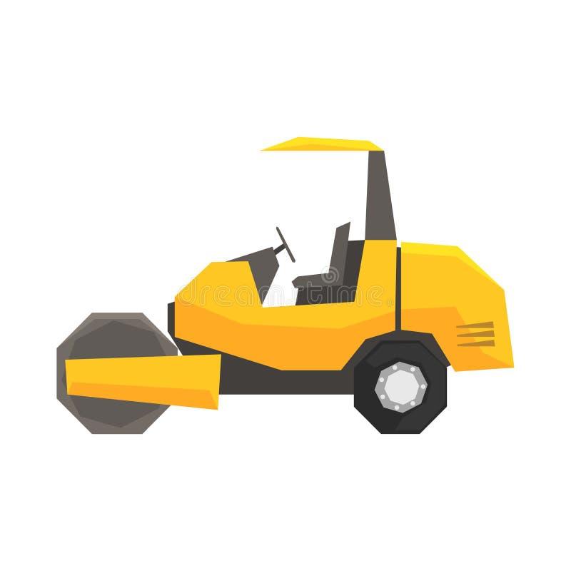 Duży żółty drogowy rolownik, ciężkiej budowy maszynowa wektorowa ilustracja ilustracja wektor
