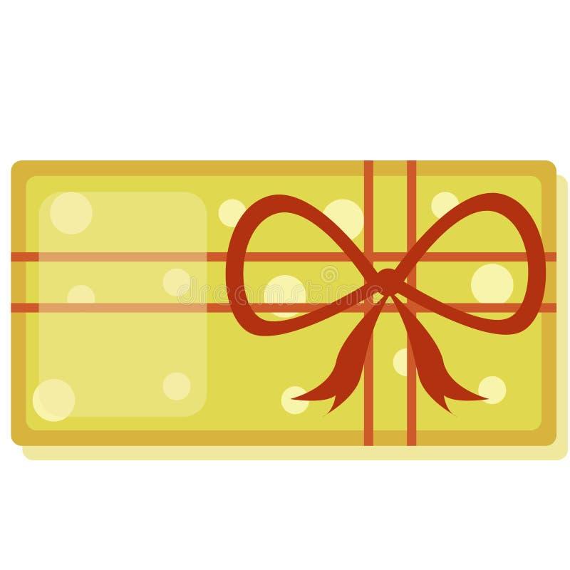 Duży żółty nowego roku ` s prezenta pudełko z czerwonym faborkiem, odizolowywającym na białym tle również zwrócić corel ilustracj royalty ilustracja