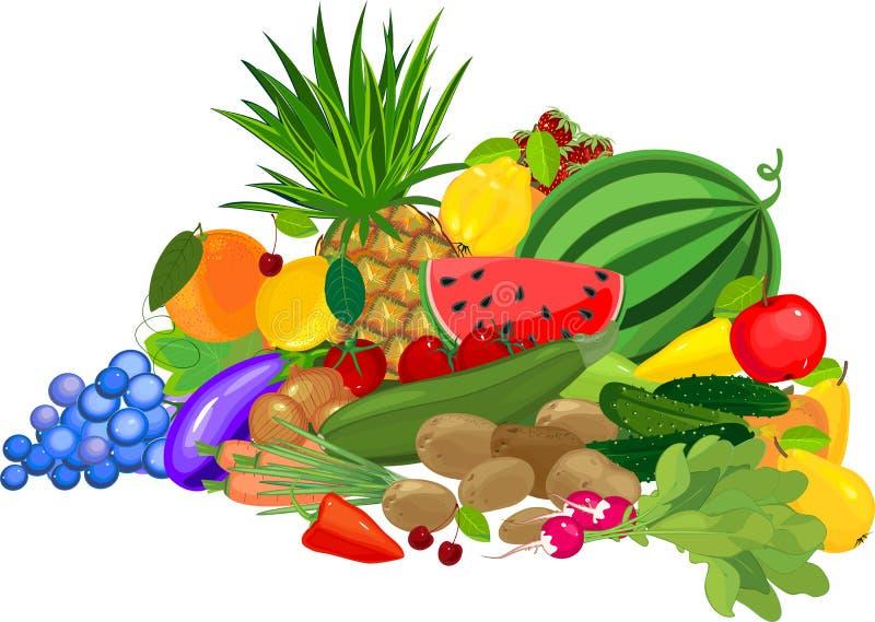 Duży życie z jesieni żniwa składem z różnymi owoc i warzywo na białym tle wciąż royalty ilustracja