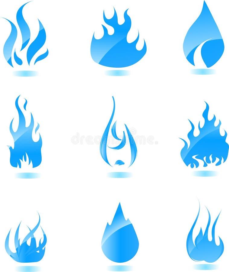 duży błękit ogienia glansowany ikony set royalty ilustracja